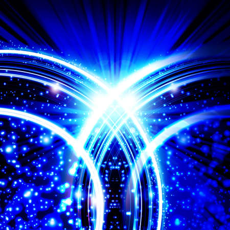 blue background with planet and rays Stock Photo - 12703463