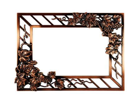 bronze frame on white background photo
