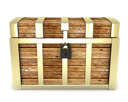 treasure chest isolated on white background photo