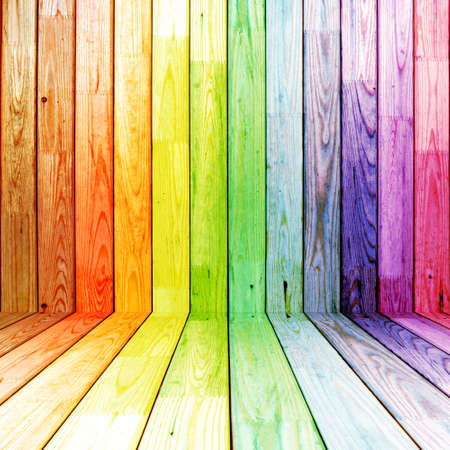 spectral: colorful spectral wooden room Stock Photo