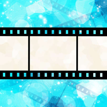 film strip on glowing blue background photo