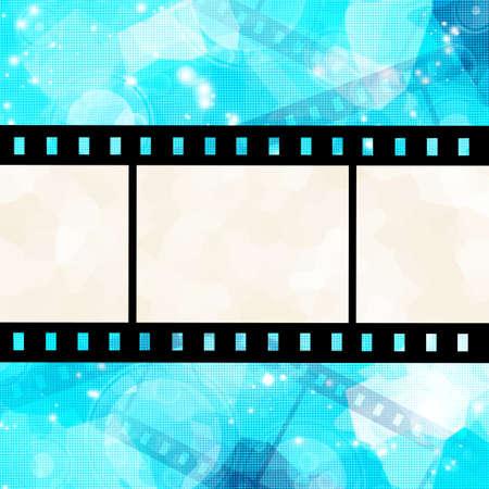 foto: film strip on glowing blue background