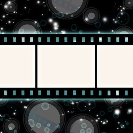 film strip on glowing dark background photo