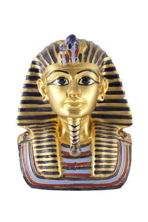 burial: a gold statue of Tutankhamun isolated in white background