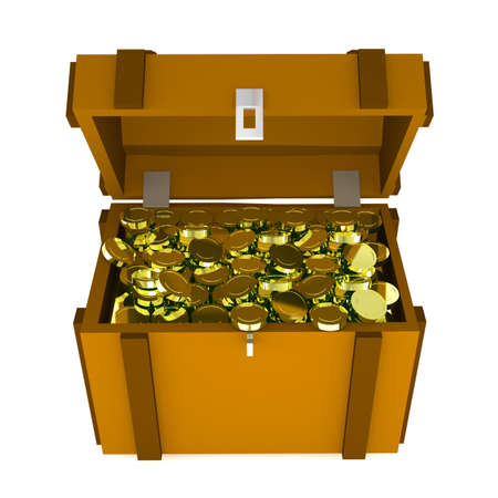 jewel box: three-dimensional treasure chest isolated on white background