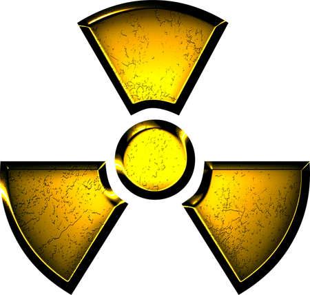 bombe atomique: symbole jaune de rayonnement Banque d'images