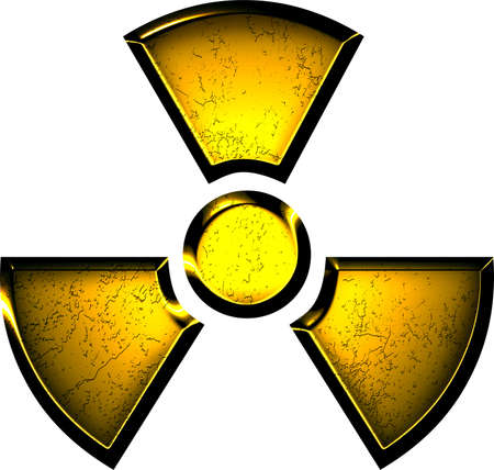 atomic bomb: yellow symbol of radiation Stock Photo