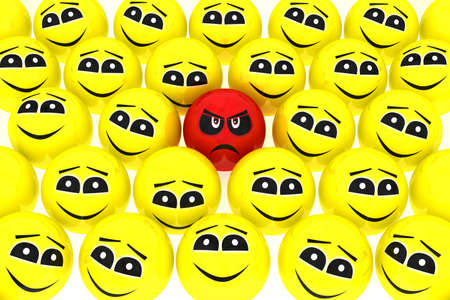 friendliness: A unhappy smiley stands out from the crowd isolated