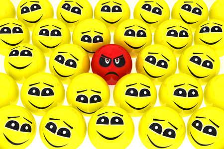 amabilidad: Un infeliz emoticono se destaca de la muchedumbre aislada Foto de archivo