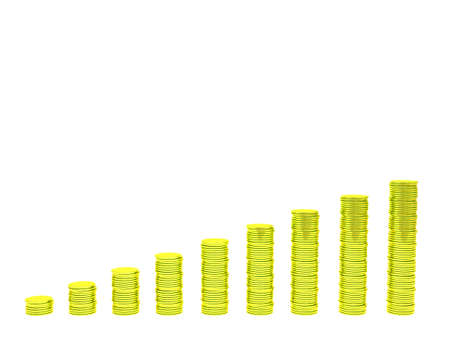 coins graph isolated Stock Photo - 12706304