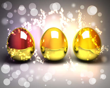 golden eggs: Easter background with three golden eggs