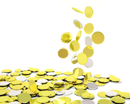 falling gold and silver coins isolated
