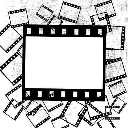 foto: film pieces on grunge background Stock Photo