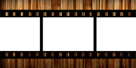 film slide on a wood background photo