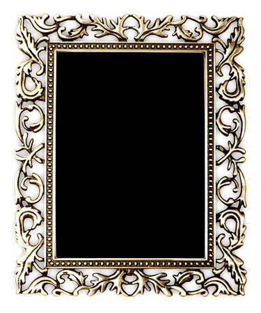 baroque border: golden frame on a white background Stock Photo