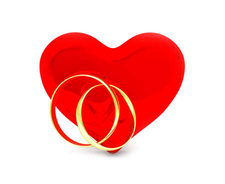 spousal: isolated red heart with golden rings Stock Photo