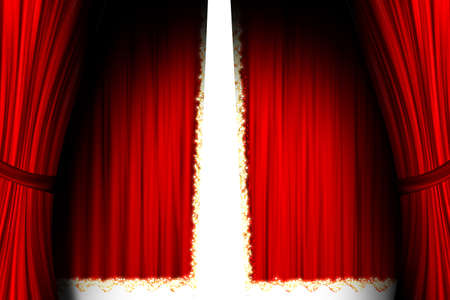 magick: Red theater stage opened Stock Photo