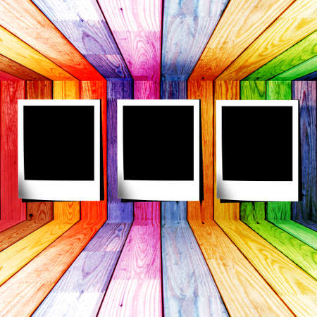 photo slide in a colorful wooden room