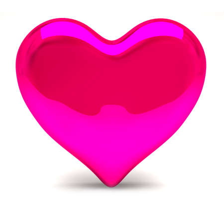 shiny pink heart on a white background photo