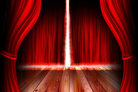 famous actor: red theater stage with open curtain