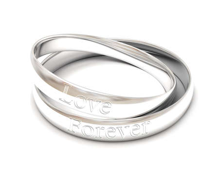 isolated silver wedding rings photo