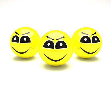 amiable: three happy smiles