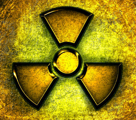 yellow symbol of radiation on a steel background Stock Photo - 12711552
