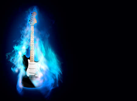 guitar illustration: elictric guitare in blue flames on a black background Stock Photo