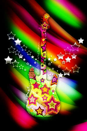 colorful guitar with stars on a bright background