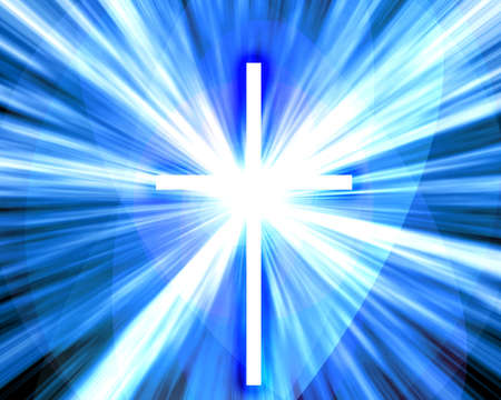 almighty: religious theme with glowing cross in heaven Stock Photo