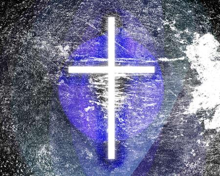 grunge cross: tema religioso con croce grunge incandescente nel cielo