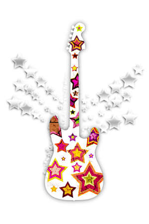 violet red: guitar with colorful stars on a white background