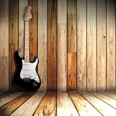 la guitarra en la antigua habitación de