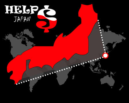 devastating: help japan on thebig map with dollar Stock Photo