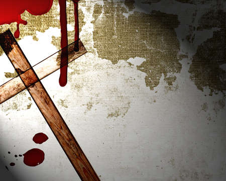 hemorragias: sangre en la pared con la cruz Foto de archivo