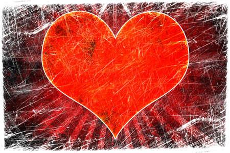 dark beige: Orange grunge love background Stock Photo