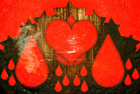 red grunge hearts with drops photo