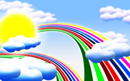 de dibujos animados foto con sol, nubes y arco iris Foto de archivo - 12706288