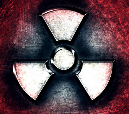 hazard symbol: symbol of radiation on a steel background