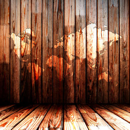 wooden wall with map and floor in the room photo