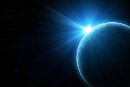tierra azul en el espacio con el sol naciente Foto de archivo