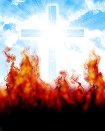 infierno: cruz resplandeciente en el cielo