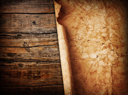 crumple: paper on wood background