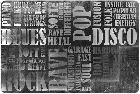Cartel de la música rock en el grunge