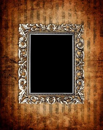 antique asian: vintage frame on old wall