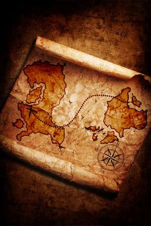 isla del tesoro: antiguo mapa del tesoro en el fondo del grunge