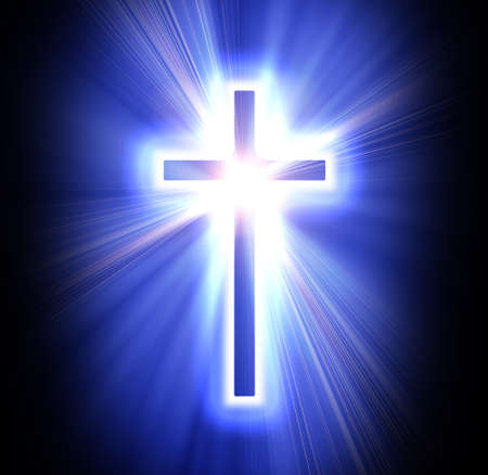 jesus on the cross: blue cross on a dark black background