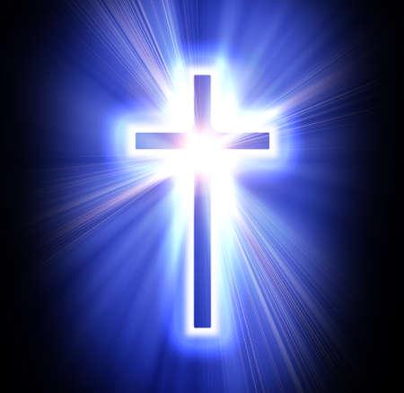 cruz azul sobre un fondo negro oscuro