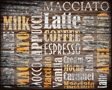 sorts of coffee background on a wood photo