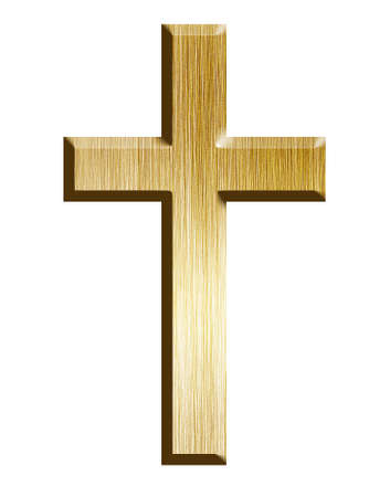 Golden cross, isolated on a white background with clipping path photo